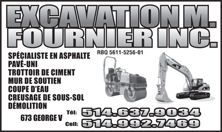 M Fournier Excavation Inc (514-992-7469) - Display Ad