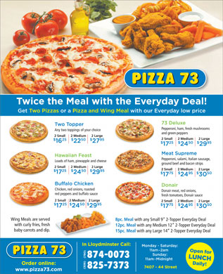 Pizza 73 (306-825-7373) - Display Ad