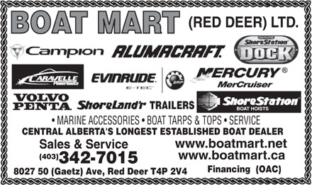 Boat Mart (Red Deer) Ltd (403-342-7015) - Display Ad