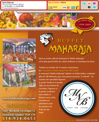 Buffet Maharaja (514-934-0655) - Display Ad
