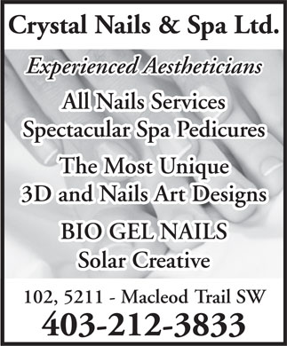 Crystal Nails & Spa (403-212-3833) - Annonce illustrée - Crystal Nails & Spa Ltd. Experienced Aestheticians All Nails Services All Nails Services Spectacular Spa Pedicures Spectacular Spa Pedicures The Most Uniqueost Unique 3D and Nails Art Designs BIO GEL NAILSILS Solar Creative 102, 5211 - Macleod Trail SW 403-212-3833 Crystal Nails & Spa Ltd. Experienced Aestheticians All Nails Services All Nails Services Spectacular Spa Pedicures Spectacular Spa Pedicures The Most Uniqueost Unique 3D and Nails Art Designs BIO GEL NAILSILS Solar Creative 102, 5211 - Macleod Trail SW 403-212-3833  Crystal Nails & Spa Ltd. Experienced Aestheticians All Nails Services All Nails Services Spectacular Spa Pedicures Spectacular Spa Pedicures The Most Uniqueost Unique 3D and Nails Art Designs BIO GEL NAILSILS Solar Creative 102, 5211 - Macleod Trail SW 403-212-3833  Crystal Nails & Spa Ltd. Experienced Aestheticians All Nails Services All Nails Services Spectacular Spa Pedicures Spectacular Spa Pedicures The Most Uniqueost Unique 3D and Nails Art Designs BIO GEL NAILSILS Solar Creative 102, 5211 - Macleod Trail SW 403-212-3833 Crystal Nails & Spa Ltd. Experienced Aestheticians All Nails Services All Nails Services Spectacular Spa Pedicures Spectacular Spa Pedicures The Most Uniqueost Unique 3D and Nails Art Designs BIO GEL NAILSILS Solar Creative 102, 5211 - Macleod Trail SW 403-212-3833  Crystal Nails & Spa Ltd. Experienced Aestheticians All Nails Services All Nails Services Spectacular Spa Pedicures Spectacular Spa Pedicures The Most Uniqueost Unique 3D and Nails Art Designs BIO GEL NAILSILS Solar Creative 102, 5211 - Macleod Trail SW 403-212-3833