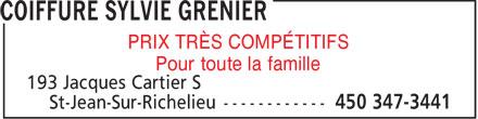 Coiffure Sylvie Grenier (450-347-3441) - Display Ad - PRIX TRÈS COMPÉTITIFS - Pour toute la famille