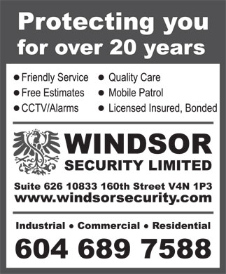 Windsor Security Ltd (604-689-7588) - Annonce illustr&eacute;e