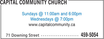 Capital Community Church (506-459-5054) - Display Ad - www.capitalcommunity.ca