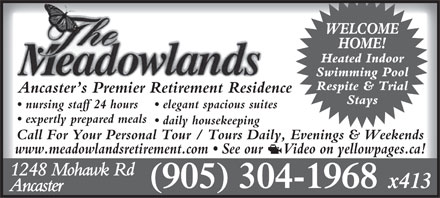 Meadowlands Retirement (905-304-1968) - Display Ad