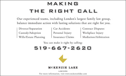 McKenzie Lake Lawyers LLP (519-667-2620) - Display Ad