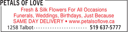 Petals Of Love (519-637-5777) - Annonce illustrée - Fresh & Silk Flowers For All Occasions Funerals, Weddings, Birthdays, Just Because SAME DAY DELIVERY   www.petalsoflove.ca