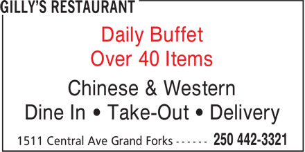 Gilly's Restaurant (250-442-3321) - Annonce illustrée - Over 40 Items Daily Buffet Chinese & Western Dine In ¿ Take-Out ¿ Delivery