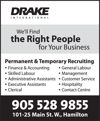 Drake International (905-528-9855) - Annonce illustrée
