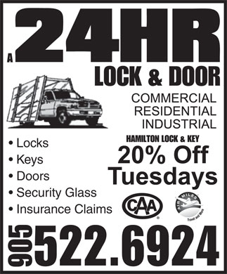 Hamilton Lock & Key (905-522-6924) - Annonce illustrée - Locks Keys Doors Security Glass Insurance Claims