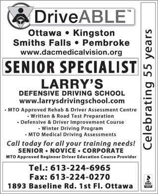 Larry's Defensive Driving School (613-224-6965) - Annonce illustr&eacute;e