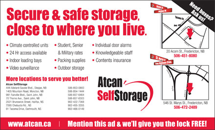 AtCan Self Storage (1-888-622-9166) - Display Ad