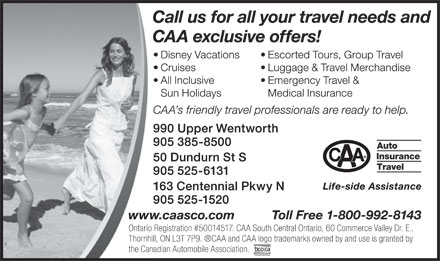 CAA Travel (905-385-8500) - Annonce illustr&eacute;e