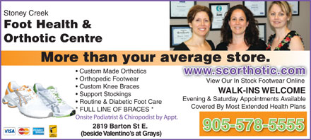 Stoney Creek Foot Health & Orthotic Centre (905-578-5555) - Display Ad