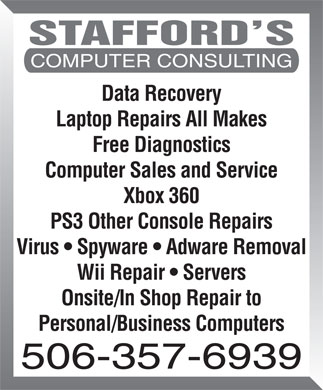 Stafford's Computer Consulting (506-357-6939) - Annonce illustr&eacute;e