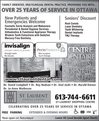 St Laurent Dental Centre (613-744-6611) - Annonce illustrée
