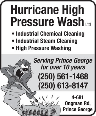 Hurricane High Pressure Wash Ltd (250-561-1468) - Display Ad