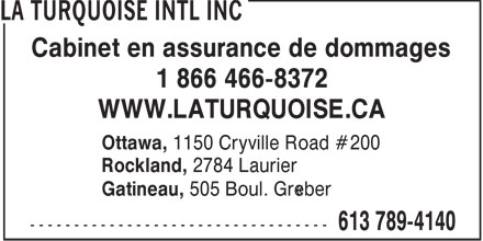 La Turquoise (1-866-466-8372) - Annonce illustr&eacute;e