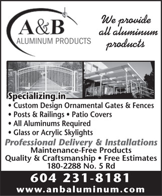 A & B Aluminum Products Ltd (604-231-8181) - Display Ad