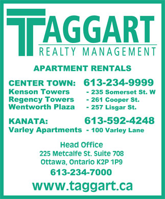 Taggart Realty Management (613-234-7000) - Annonce illustrée - AGGART REALTY MANAGEMENT  AGGART REALTY MANAGEMENT  AGGART REALTY MANAGEMENT