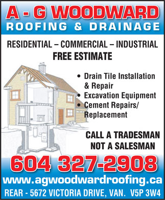 AG Woodward Roofing (604-696-3287) - Display Ad