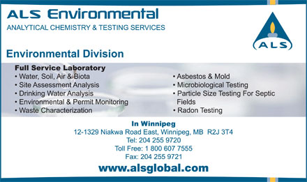 ALS Environmental (204-515-1046) - Annonce illustrée - www.alsglobal.com
