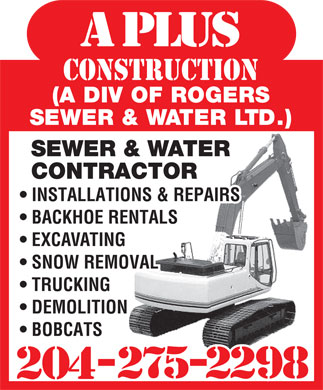 A Plus Construction (204-275-2298) - Display Ad