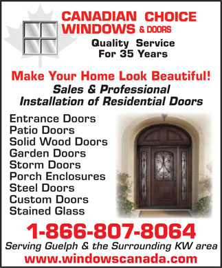 Canadian Choice Windows & Doors (416-848-6930) - Display Ad