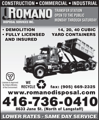 Romano Disposal Services Inc (416-736-0410) - Annonce illustr&eacute;e
