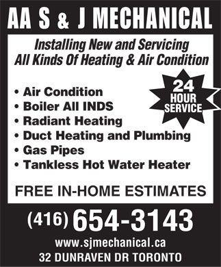AA S & J Mechanical (416-654-3143) - Display Ad