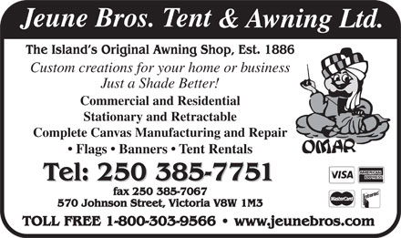 Jeune Bros Tent &amp; Awning Ltd (250-419-0853) - Annonce illustr&eacute;e