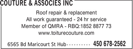 Toitures Couture &amp; Associ&eacute;s Inc (450-321-2063) - Display Ad
