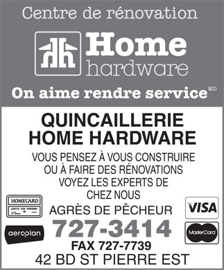 Quincaillerie Home Hardware (506-727-3414) - Display Ad