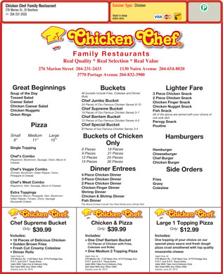 Chicken Chef Family Restaurants (204-231-2433) - Menu