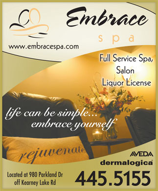Embrace Spa Inc (902-445-5155) - Display Ad - Located at 980 Parkland Dr off Kearney Lake Rd