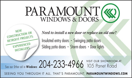 Paramount Windows (204-800-8339) - Annonce illustr&eacute;e