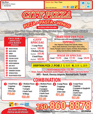 City Pizza (250-980-0531) - Menu