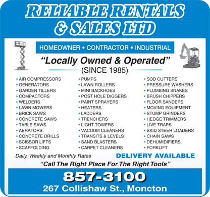Reliable Rentals & Sales Ltd (506-857-3100) - Display Ad