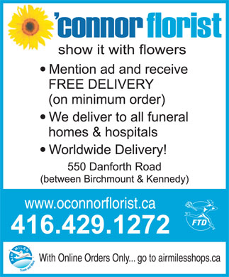 O'Connor Florist (416-429-1272) - Display Ad