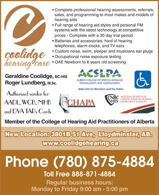 Coolidge Hearing Care Ltd 3801b 51 Ave Lloydminster Ab