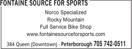 Fontaine Source For Sports (705-742-0511) - Display Ad - Norco Specialized Rocky Mountain Full Service Bike Shop www.fontainesourceforsports.com  Norco Specialized Rocky Mountain Full Service Bike Shop www.fontainesourceforsports.com
