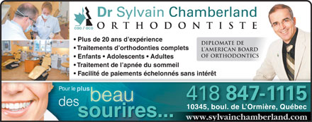 Chamberland Sylvain Dr (418-847-1115) - Annonce illustr&eacute;e