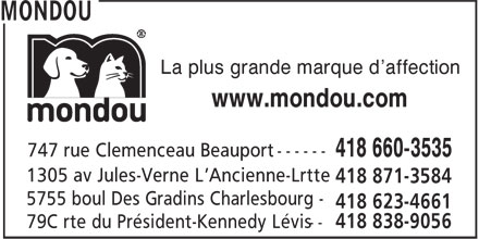 Mondou (418-660-3535) - Display Ad - La plus grande marque d'affection www.mondou.com