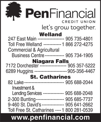 Penfinancial Credit Union (905-735-4801) - Display Ad - Welland 247 East Main------------------905 735-4801 Toll Free Welland ------------1 866 272-4275 Commercial & Agricultural Business Centre-------------905 734-1905 Niagara Falls 7172 Dorchester ------------------905 357-5222 6289 Huggins ----------------------905-356-4467 St. Catharines 82 Lake---------------------------905 688-2044 Investment & Lending Services --------------905 688-2048 2-300 Bunting-------------------905 685-7737 9-460 St. David s---------------905 641-2662 Toll Free St. Catharines----1 800 281-0539 www.penfinancial.com  Welland 247 East Main------------------905 735-4801 Toll Free Welland ------------1 866 272-4275 Commercial & Agricultural Business Centre-------------905 734-1905 Niagara Falls 7172 Dorchester ------------------905 357-5222 6289 Huggins ----------------------905-356-4467 St. Catharines 82 Lake---------------------------905 688-2044 Investment & Lending Services --------------905 688-2048 2-300 Bunting-------------------905 685-7737 9-460 St. David s---------------905 641-2662 Toll Free St. Catharines----1 800 281-0539 www.penfinancial.com