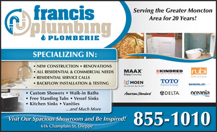 Francis Plumbing & Heating (506-802-7844) - Display Ad - SPECIALIZING IN:
