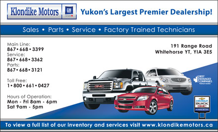 Klondike Motors Inc (867-668-3121) - Display Ad