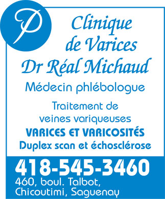 Clinique de Varices Dr Réal Michaud (418-545-3460) - Display Ad