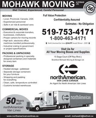 Mohawk Moving & Storage Ltd (519-753-4171) - Annonce illustrée