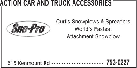 Action Car and Truck Accessories (709-753-0227) - Annonce illustrée - Curtis Snowplows & Spreaders World's Fastest Attachment Snowplow Curtis Snowplows & Spreaders World's Fastest Attachment Snowplow