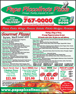 Papa Piccolino's Pizza (807-767-0000) - Display Ad